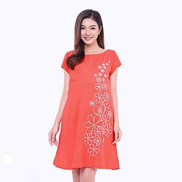 Đầm Bầu In Hoa Tay Con Thu Hanh