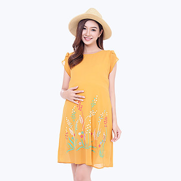 Đầm Bầu Voan Tay Con In Hoa Thu Hạnh