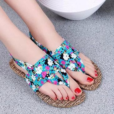 Giày Sandal Nữ Quai Kẹp Họa Tiết Hoa