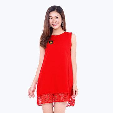 Đầm Suông Phối Ren