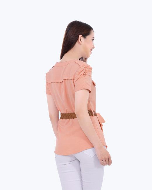 Áo Kiểu Phối Túi Kèm Thắt Lưng