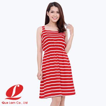 Đầm Ngủ Dây Bản Nhún Thun Eo-616001-TH Quế Lâm