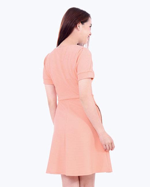 Đầm Xòe Cổ Xếp Chữ A Cách Điệu