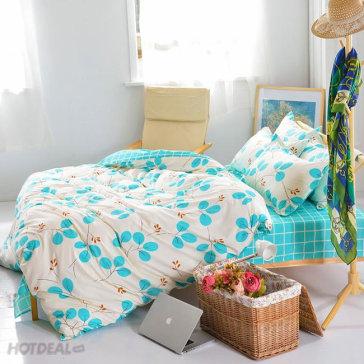 Bộ Drap Cotton Poly Kèm Mền Mát Lạnh Hàn Quốc 1M6X2M Bộ 6