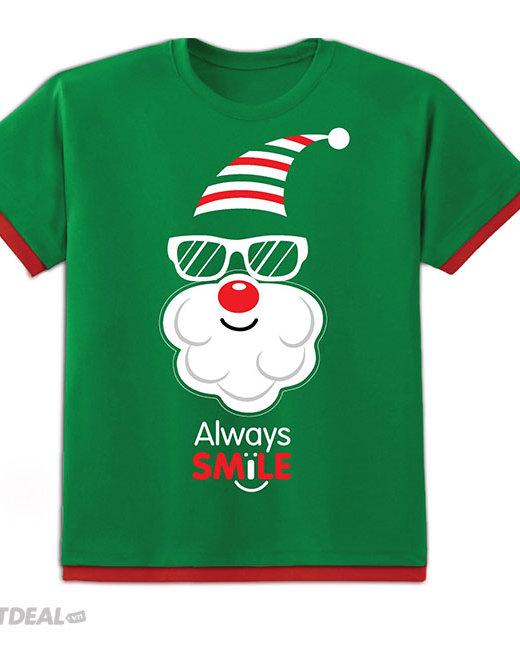 Áo Thun Kibu Có Đèn Chớp Cho Trẻ Em Họa Tiết Cool Santa Xanh (Tặng...