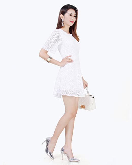 Đầm Xòe Phối Ren Jenna