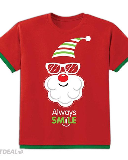 Áo Thun Kibu Có Đèn Chớp Cho Trẻ Em Họa Tiết Cool Santa Đỏ...