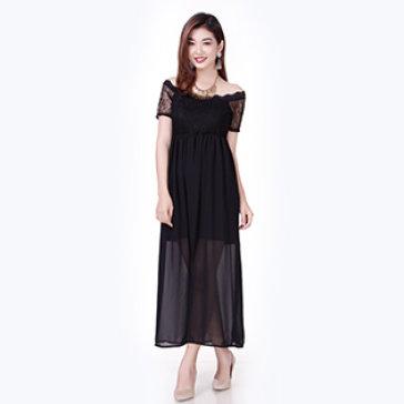 Đầm Maxi Phối Ren Trễ Vai Hani