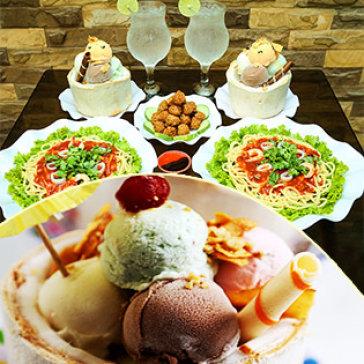 2 Phần Kem Trái Dừa + 2 Dĩa Mì Ý + 1 Dĩa Cá Viên Chiên + 2 Ly Đá Chanh