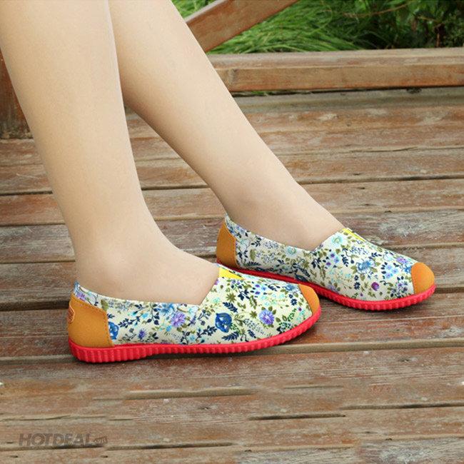 Giày Vải In Hoa Cúc