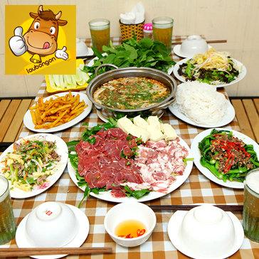 Lẩu Riêu Cua Bắp Bò Sườn Sụn Và Món Ăn Kèm Cho 4-6N - Quán Lẩu Bò Ngon