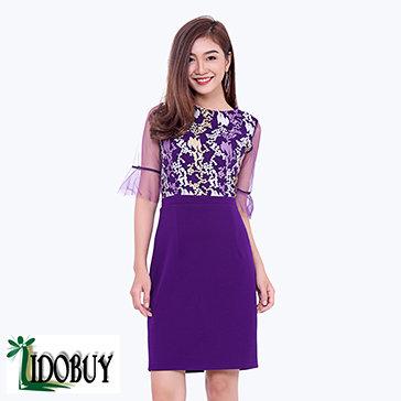 Đầm Dự Tiệc Tay Loe Sang Trọng Lidobuy