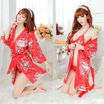 Đầm Ngủ Kiểu Kimono Kèm Áo Lót Và Quần Chip