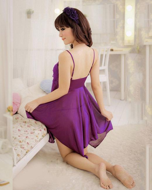 Đầm Ngủ Phi 2 Dây Nhún Ren Kèm Quần Chip