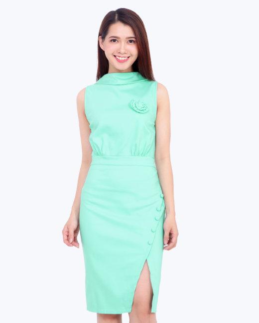 Đầm Body Đính Hoa Hồng Thời Trang