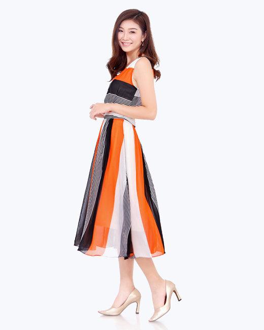 Đầm Maxi Phối Màu Thời Trang Hàn Quốc Cao Cấp
