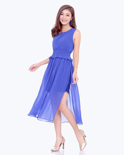 Đầm Maxi Voan Xòe Nhúng Eo