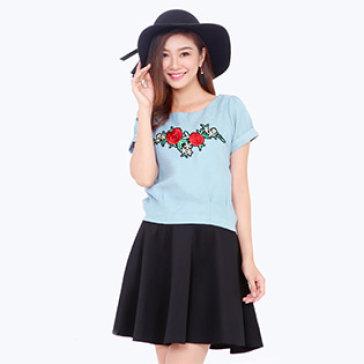 Áo Kiểu Nữ In Hoa Hồng Style Hàn Quốc