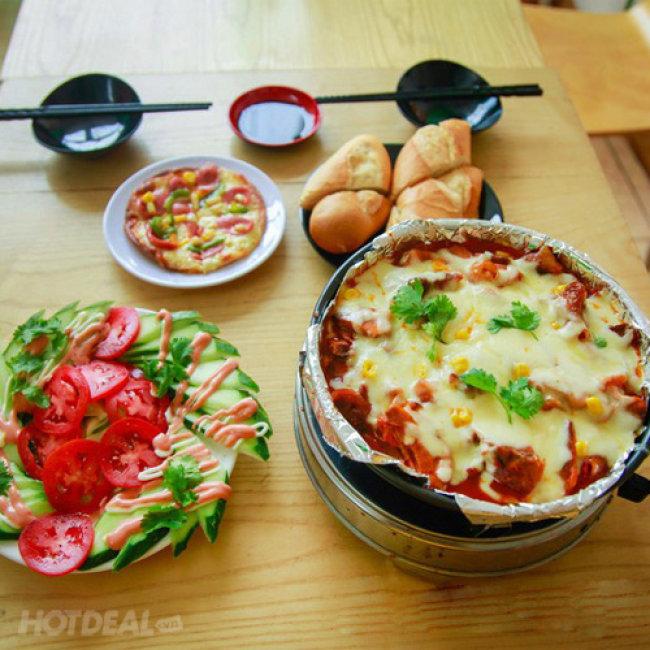 Set Gà Nướng Phomai Thơm Nức Mũi + Pizza Và Các Món Ăn Kèm Cho 2-3...