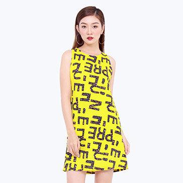 Đầm Suông In Chữ