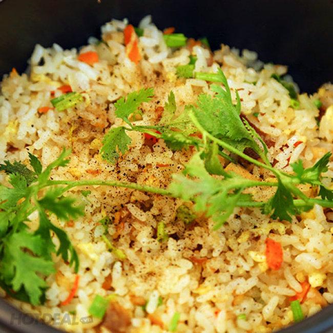 Miến Cua Tay Cầm/ Cơm Cá Mặn + Trà Đào Tại Khan