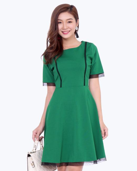 Đầm Xòe Phối Lưới Trẻ Trung Style Hàn Quốc