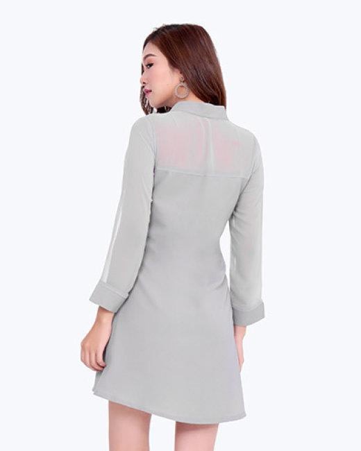 Đầm Suông Cổ Trụ Phối Vol