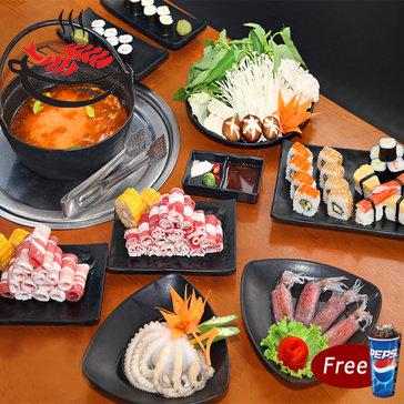 Buffet Lẩu Và Sushi Phục Vụ Tại Bàn Free Pepsi Nhà Hàng Yaki Times...