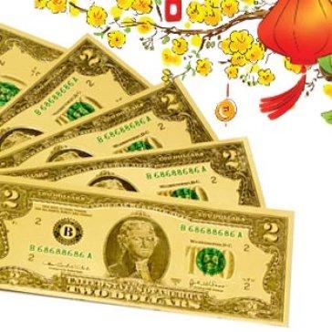 Combo 9 Tờ 2 USD Hoặc 100 USD May Mắn Bằng Nhựa Plastic Lộc Đầu Năm