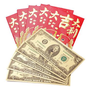 Combo 5 Tờ 2 USD May Mắn Loại 2 Mặt Tặng Kèm 05 Bao Lì Xì