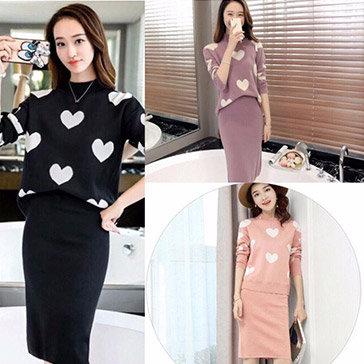 Set Váy + Áo Len Tim Thời Trang Korea