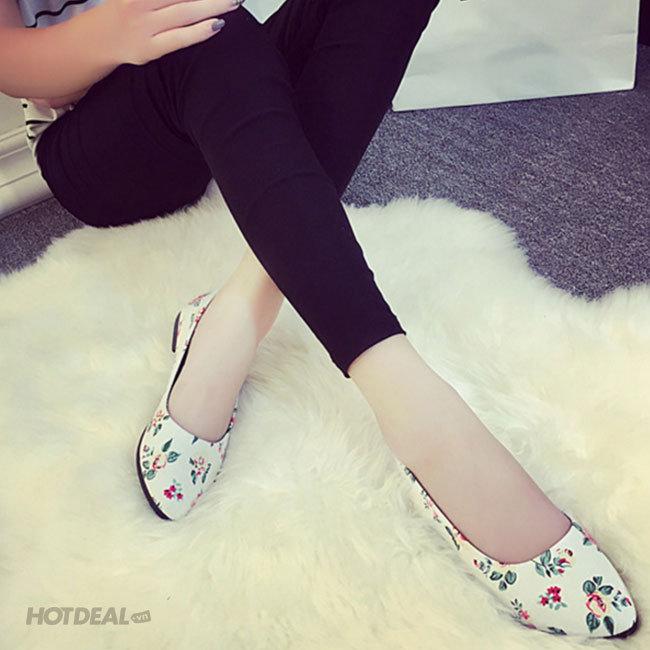 Giày Búp Bê Hoa Lá Sắc Màu Thời Trang