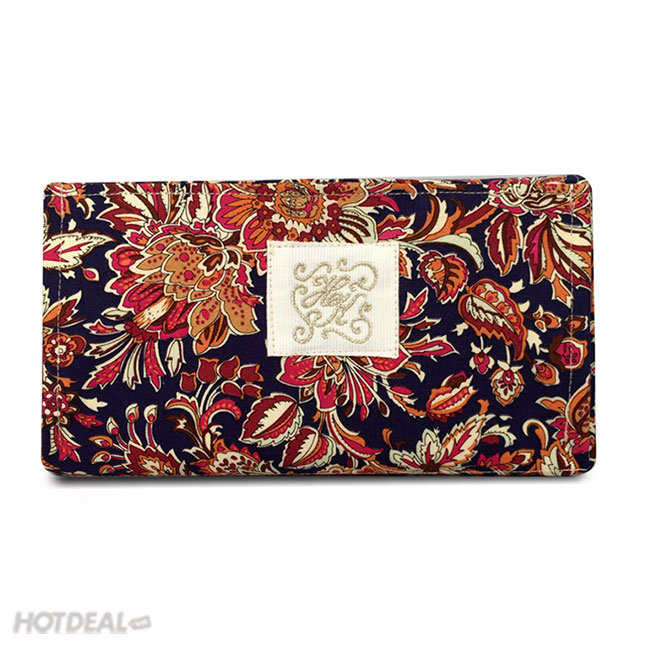 Ví Cầm Tay Kiểu Dáng Vintage Họa Tiết Hoa (Màu Tối)