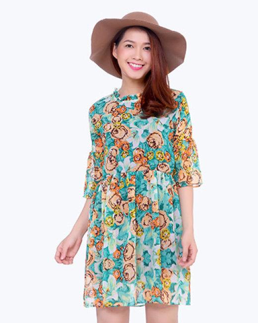 Đầm Hoa Tay Loe
