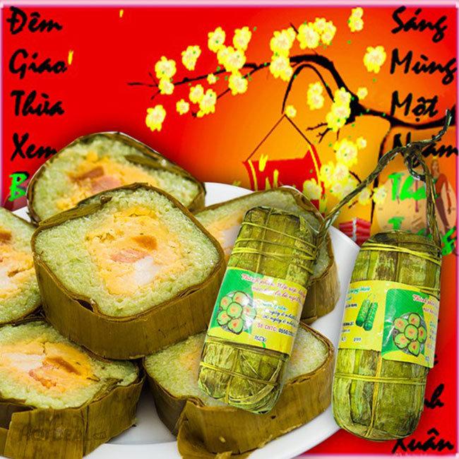 Cặp Bánh Tét Trà Cuôn Hai Lý- Đặc Sản Trà Vinh Chính Gốc