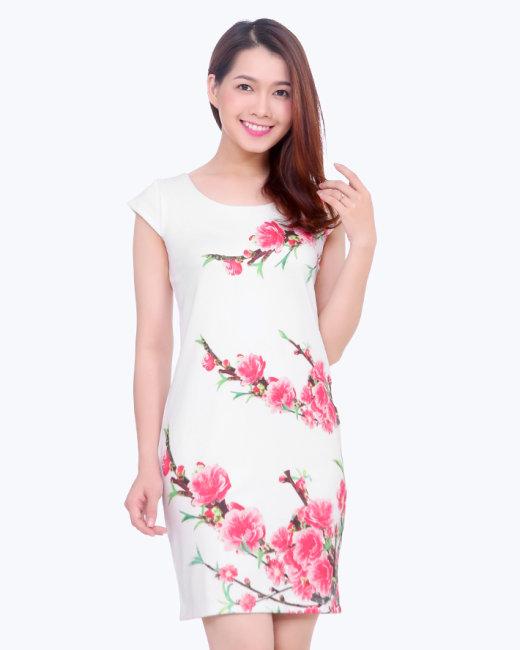 Đầm Tay Con Hoa Đào
