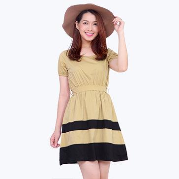 Đầm Xòe Bo Tay Nữ Tính