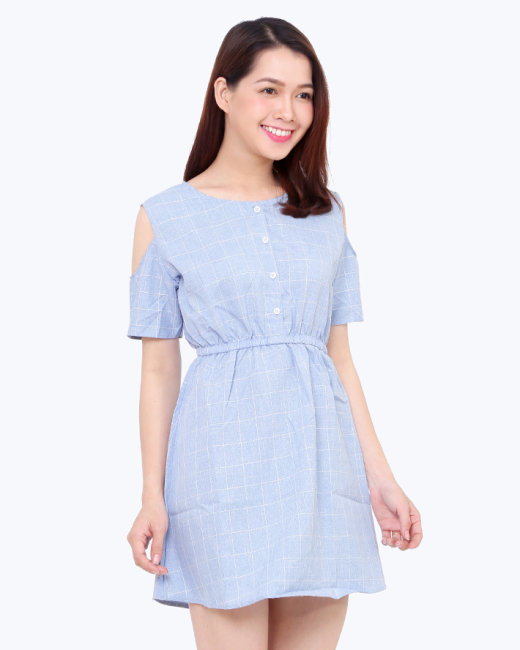Đầm Bo Eo Cut- Out Vai