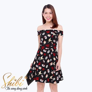 Đầm Dự Tiệc Họa Tiết Shibi SB074