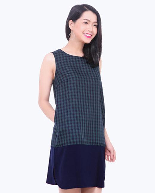 Đầm Caro Phối Lai Bầu TT Gofa