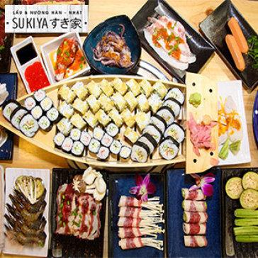 Buffet Trưa Lẩu Nhật Hàn, Hải Sản & Bò Mỹ Nướng- Sukiya Kore Vincom Mega Mall