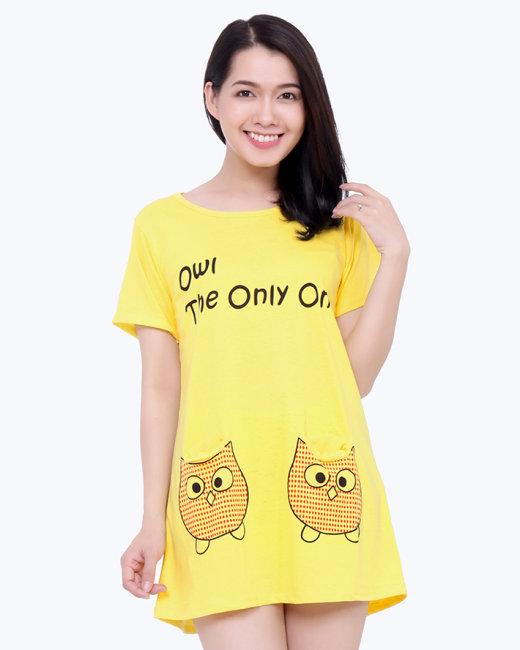 Đầm Mặc Nhà Phối Túi Hình Cú Style