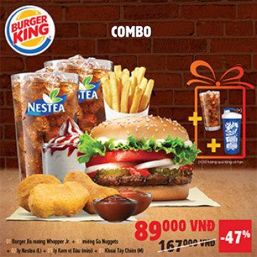 Burger King Nổi Tiếng Từ Mỹ - Combo BBQ Burger + Miếng Gà + Khoai Tây + Kem + Thức Uống & Quà Tặng Hấp Dẫn Dành Cho 2 Người