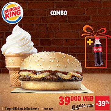 Burger King Nổi Tiếng Từ Mỹ - Set BBQ Burger + Kem Ốc Quế & Thức Uống Giá Cực Sock Chỉ Duy Nhất Tại Hotdeal