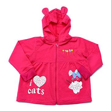 Áo Khoác Tai Mèo Thun Cotton Hồng Đậm Siêu Mát Cho Bé TH Thái Toàn (Size 5, 6, 7)