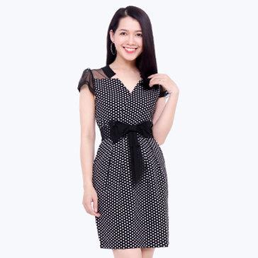 Đầm Công Sở Phối Nơ Eo Fashion