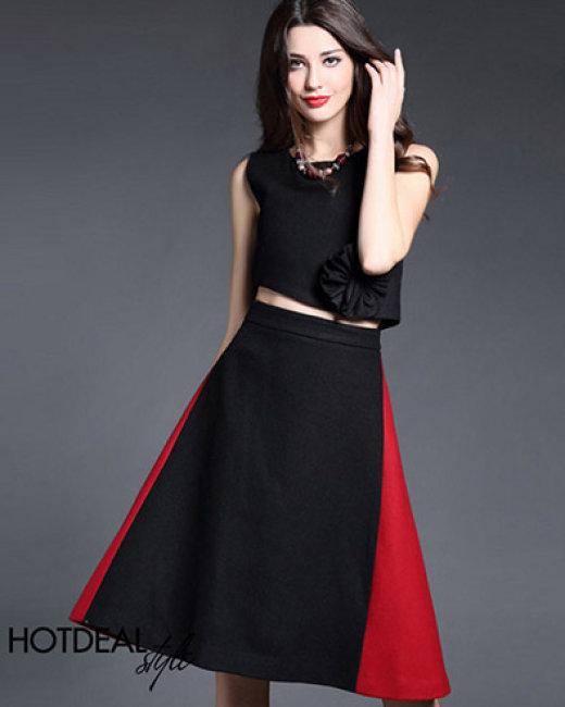 Set Chân Váy Xòe Phối Màu + Áo Croptop Kết Hoa