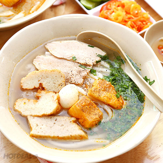 Combo 2 Bánh Canh Bột Gạo Cá Lóc Tô Lớn + 2 Trà Lạnh + 2 Khăn -...