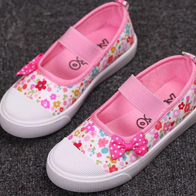 Giày Búp Bê Vải Hoa Cho Bé