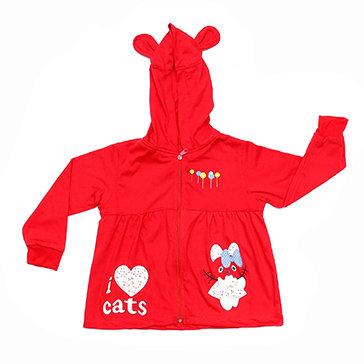 Áo Khoác Tai Mèo Thun Cotton Đỏ Siêu Mát Cho Bé TH Thái Toàn (Size 5,...